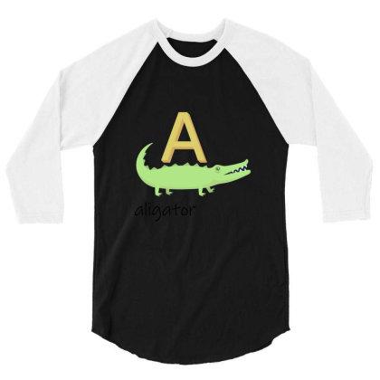 Aligator   Read Letters Tshirt 01 3/4 Sleeve Shirt Designed By Kroos-sell