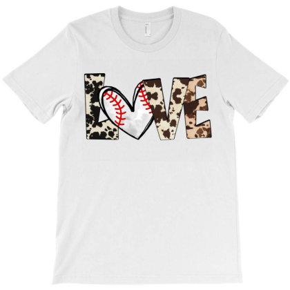 Love Baseball Cowhide T-shirt Designed By Badaudesign