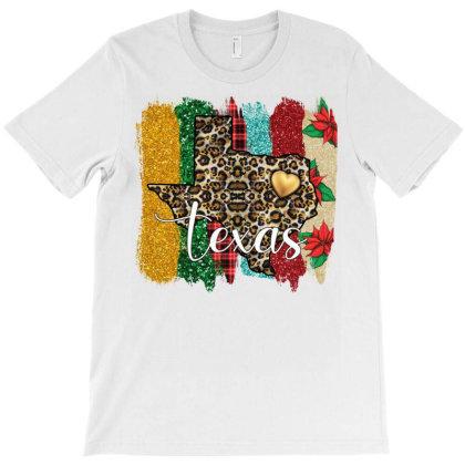 Texas Christmas Leopard And Glitter T-shirt Designed By Badaudesign