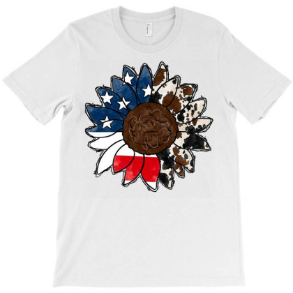 American Flag With Cowhide Sunflower T-shirt Designed By Badaudesign