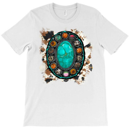 Cowhide And Turquoise T-shirt Designed By Badaudesign