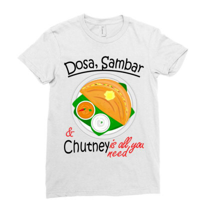 Asia South Indian Vegan Dosa Sambar & Chutney Ladies Fitted T-shirt Designed By Vnteees