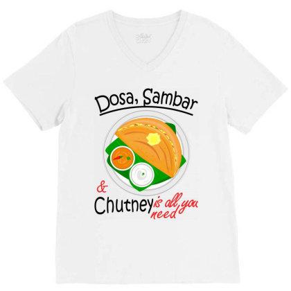 Asia South Indian Vegan Dosa Sambar & Chutney V-neck Tee Designed By Vnteees