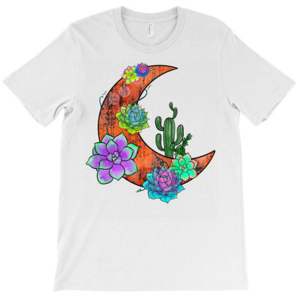 Moon Succulent T-shirt Designed By Badaudesign