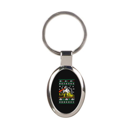 Godzilla Ugly Christmas Oval Keychain Designed By Ande Ande Lumut