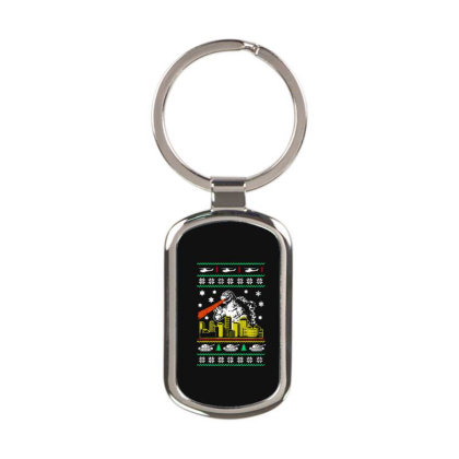 Godzilla Ugly Christmas Rectangle Keychain Designed By Ande Ande Lumut