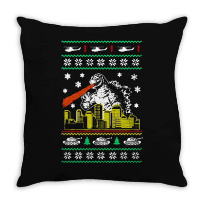 Godzilla Ugly Christmas Throw Pillow Designed By Ande Ande Lumut
