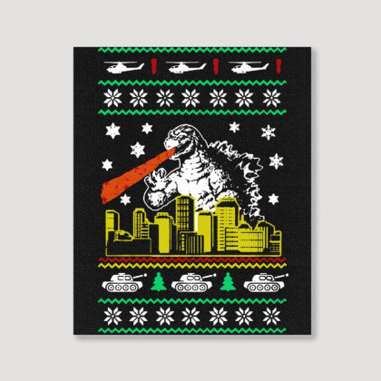 Godzilla Ugly Christmas Portrait Canvas Print Designed By Ande Ande Lumut