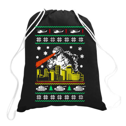 Godzilla Ugly Christmas Drawstring Bags Designed By Ande Ande Lumut