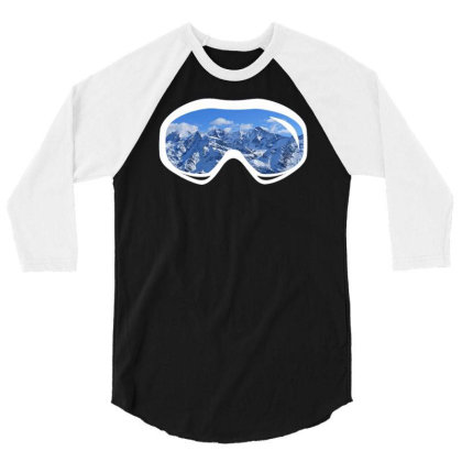 Ski Goggles Mountain Snowboard 3/4 Sleeve Shirt Designed By Funtee