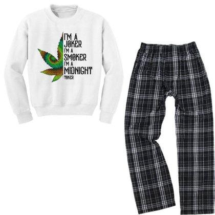 I'm A Midnight Toker Youth Sweatshirt Pajama Set Designed By Pinkanzee