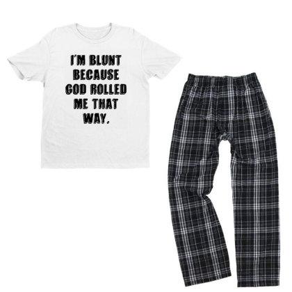 I'm Blunt Typography Youth T-shirt Pajama Set Designed By Pinkanzee