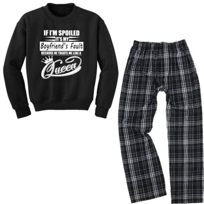 I'm Spoiled Youth Sweatshirt Pajama Set Designed By Pinkanzee