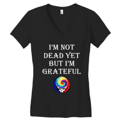 I'm Grateful Women's V-neck T-shirt Designed By Pinkanzee