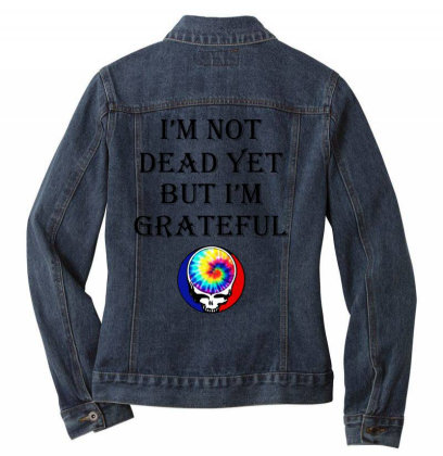 I'm Grateful Ladies Denim Jacket Designed By Pinkanzee