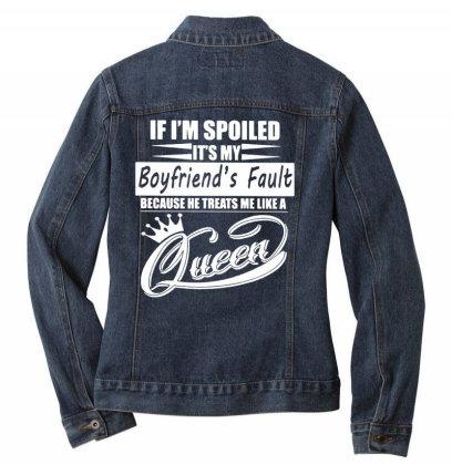 I'm Spoiled Ladies Denim Jacket Designed By Pinkanzee
