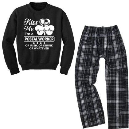 Kiss Me St Patrick's Day Youth Sweatshirt Pajama Set Designed By Pinkanzee