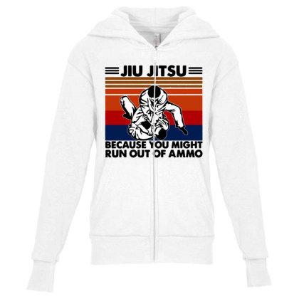 Jiu Jitsu Youth Zipper Hoodie Designed By Pinkanzee