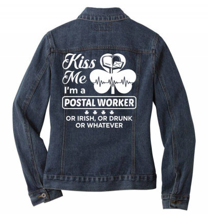 Kiss Me St Patrick's Day Ladies Denim Jacket Designed By Pinkanzee