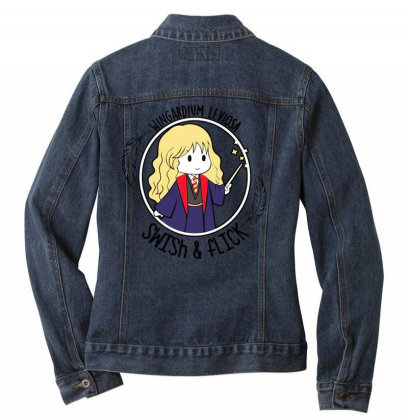 Cute Anime Ladies Denim Jacket Designed By Pinkanzee