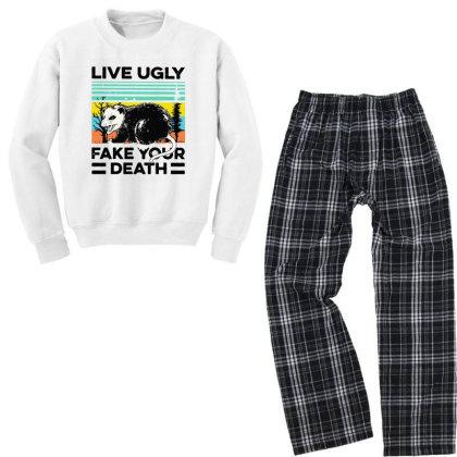 Fake Your Death Youth Sweatshirt Pajama Set Designed By Pinkanzee