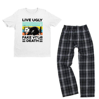Fake Your Death Youth T-shirt Pajama Set Designed By Pinkanzee