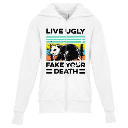 Fake Your Death Youth Zipper Hoodie Designed By Pinkanzee