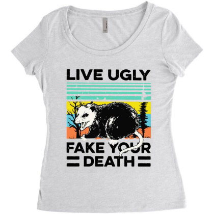 Fake Your Death Women's Triblend Scoop T-shirt Designed By Pinkanzee