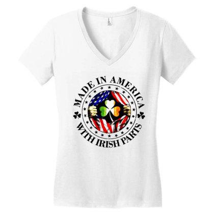 America Irish Women's V-neck T-shirt Designed By Pinkanzee