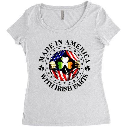 America Irish Women's Triblend Scoop T-shirt Designed By Pinkanzee