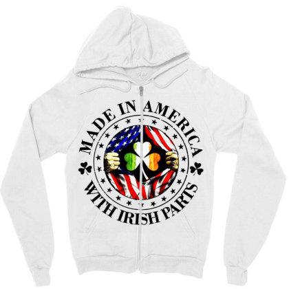 America Irish Zipper Hoodie Designed By Pinkanzee