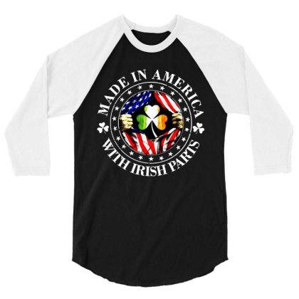 America Irish 3/4 Sleeve Shirt Designed By Pinkanzee
