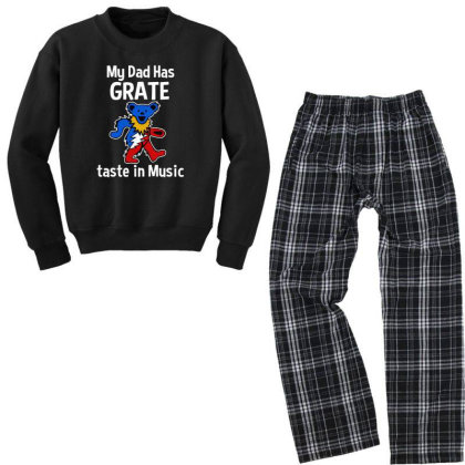 My Dad  In Music Youth Sweatshirt Pajama Set Designed By Pinkanzee