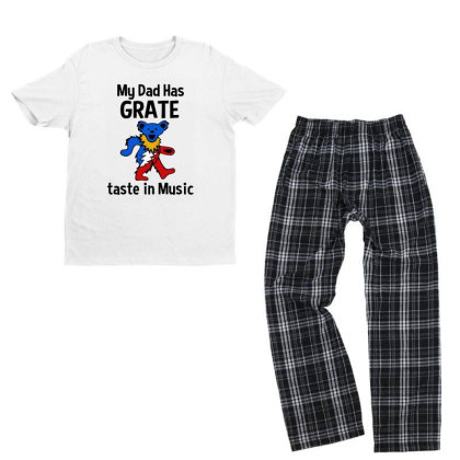 My Dad In Music Youth T-shirt Pajama Set Designed By Pinkanzee