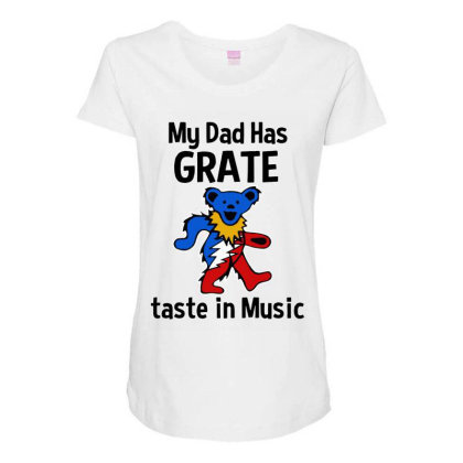 My Dad In Music Maternity Scoop Neck T-shirt Designed By Pinkanzee