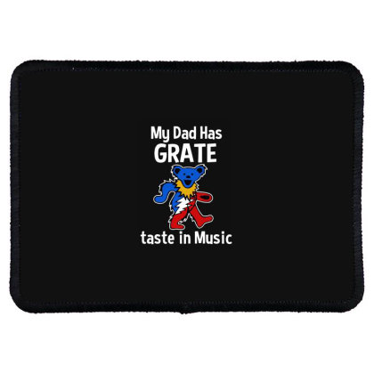 My Dad  In Music Rectangle Patch Designed By Pinkanzee
