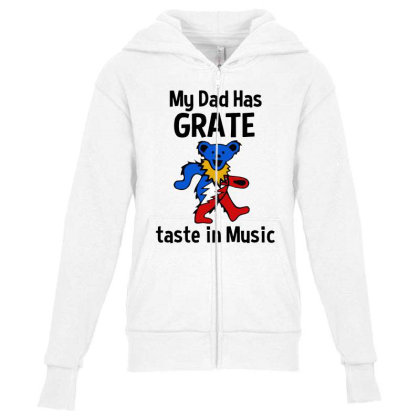 My Dad In Music Youth Zipper Hoodie Designed By Pinkanzee