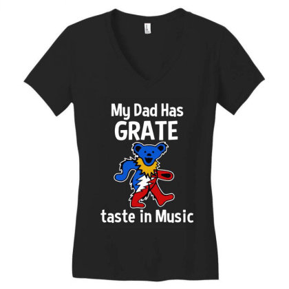 My Dad  In Music Women's V-neck T-shirt Designed By Pinkanzee