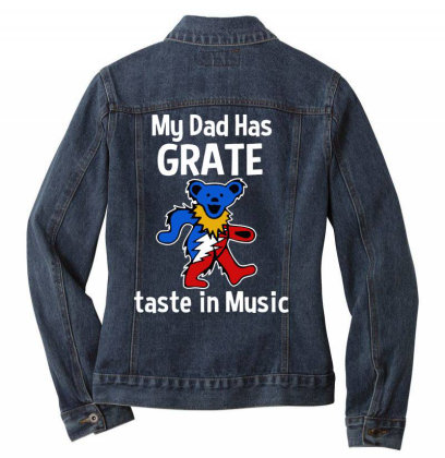My Dad  In Music Ladies Denim Jacket Designed By Pinkanzee