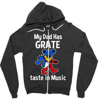 My Dad  In Music Zipper Hoodie Designed By Pinkanzee