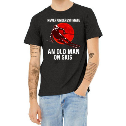 Never Underestimate An Old Man Heather T-shirt Designed By Pinkanzee