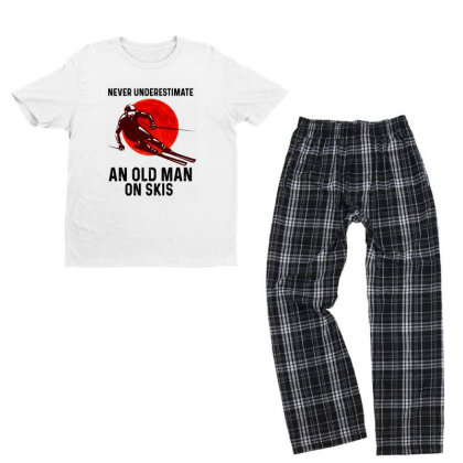 Never Underestimate An Old Man Youth T-shirt Pajama Set Designed By Pinkanzee