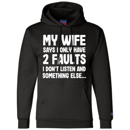 My Wife Typography Champion Hoodie Designed By Pinkanzee