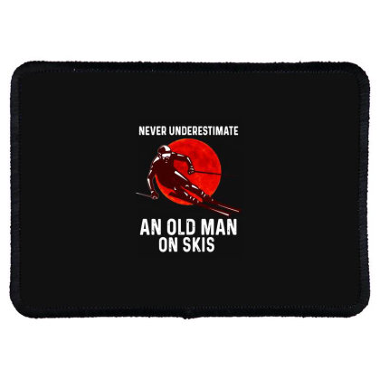 Never Underestimate An Old Man Rectangle Patch Designed By Pinkanzee