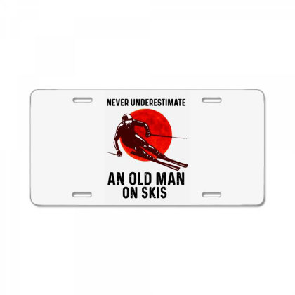 Never Underestimate An Old Man License Plate Designed By Pinkanzee