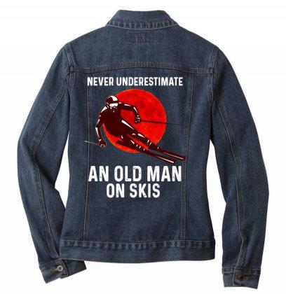 Never Underestimate An Old Man Ladies Denim Jacket Designed By Pinkanzee