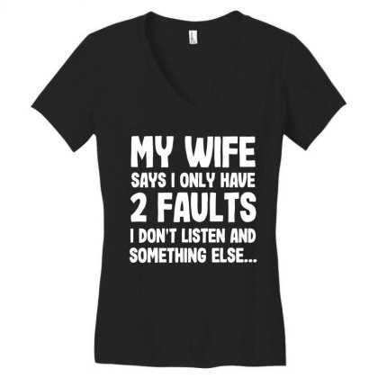 My Wife Typography Women's V-neck T-shirt Designed By Pinkanzee