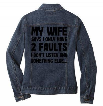 My Wife Quote Ladies Denim Jacket Designed By Pinkanzee