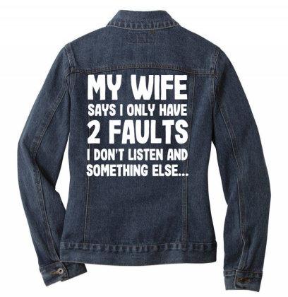 My Wife Typography Ladies Denim Jacket Designed By Pinkanzee