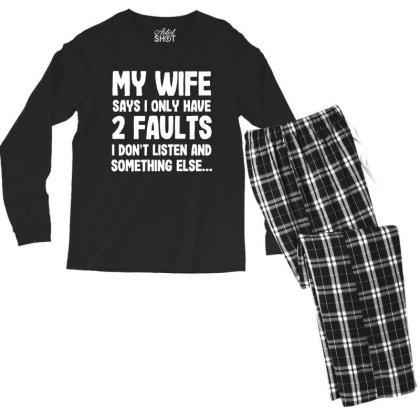 My Wife Typography Men's Long Sleeve Pajama Set Designed By Pinkanzee